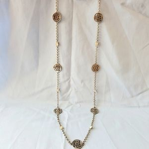"Jewelry - 17 "" Silver Toned Necklace with Flower Medallion"